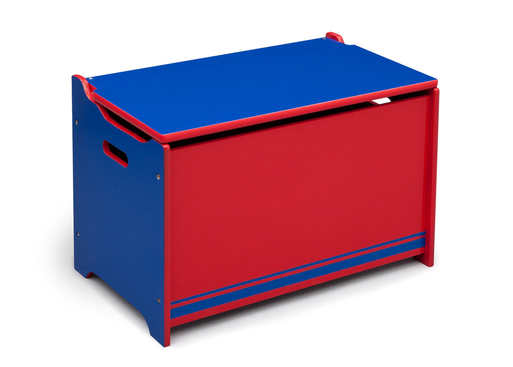 Delta Children Blue / Red Generic Wooden Toy Box, Left View a1a