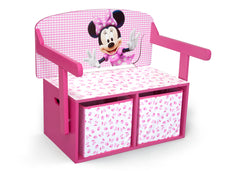 Delta Children Minnie Mouse 3-in-1 Storage Bench and Desk Right View Closed a2a