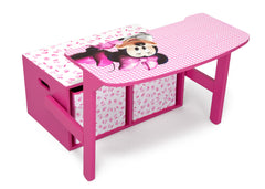 Delta Children Minnie Mouse 3-in-1 Storage Bench and Desk Right View Open a1a