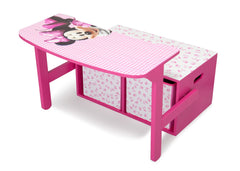 Delta Children Minnie Mouse 3-in-1 Storage Bench and Desk Left View Open a3a