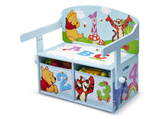 Delta Children Winnie the Pooh 3-in-1 Storage Bench and Desk Left View Closed a4a