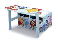 Delta Children Winnie the Pooh 3-in-1 Storage Bench and Desk Left View Open a3a