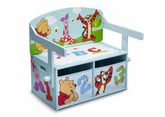 Delta Children Winnie the Pooh 3-in-1 Storage Bench and Desk Right View Closed a2a
