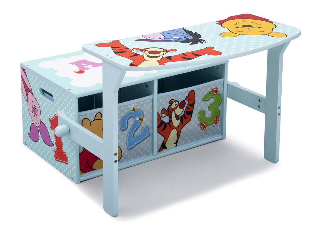 Delta Children Winnie the Pooh 3-in-1 Storage Bench and Desk Right View Open a1a