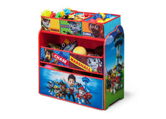 Delta Children PAW Patrol Wooden Toy Organizer, Left View with Props a2a
