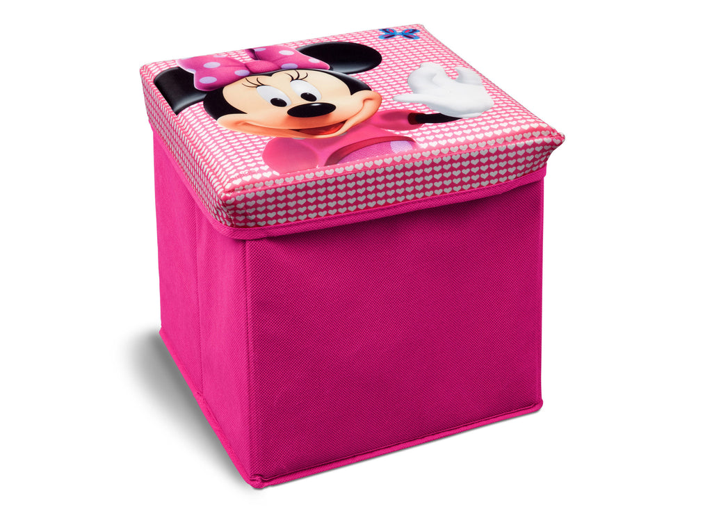 Delta Children Minnie Mouse Collapsible Storage Ottoman, Left View a1a