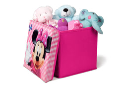 Delta Children Minnie Mouse Collapsible Storage Ottoman, Left View with Props Style 1 a2a