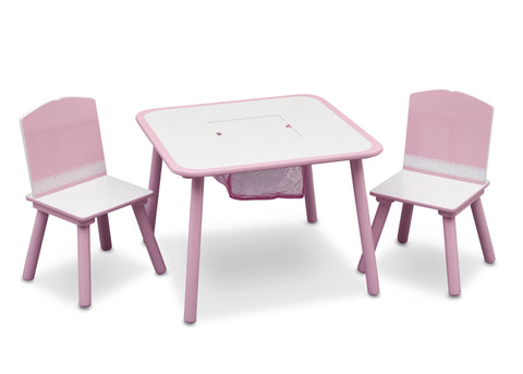 Generic Pink Table and Chair Set with Storage
