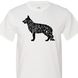 German Shepherd Shaped Text - Men's Short Sleeved Tee Shirt