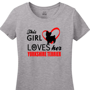 This Girl Loves Her Yorkshire Terrier - Women's Short Sleeved Tee Shirt