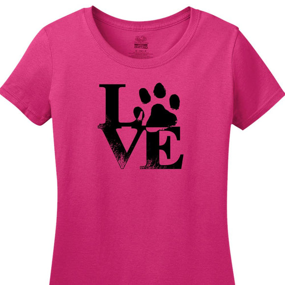 Robert Indiana Inspired Design with Paw Print - Women's Short Sleeved Tee Shirt