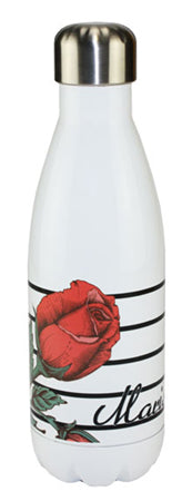 White Tapered Water Bottle, Stainless With your picture