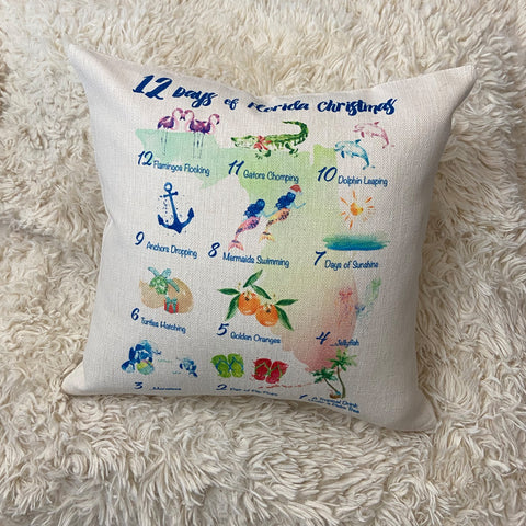 12 Days of Florida Christmas Toss Pillow