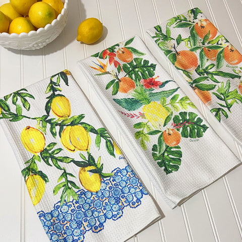 Citrus Inspired Microfiber Dish Towels