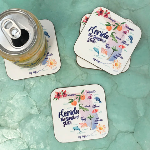 FLORIDA, THE SUNSHINE STATE DRINK COASTERS, SET OF 4