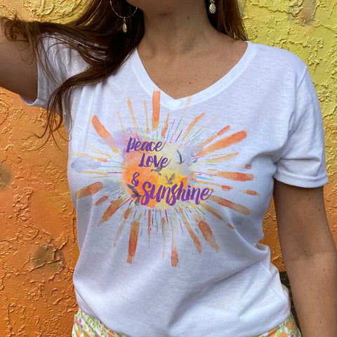 Peace Love and Sunshine V-neck Fashion T-shirt