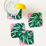 PINK PALM DRINK COASTERS, SET OF 4