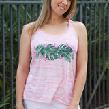 PINK PALMS RACER BACK TANK TOP