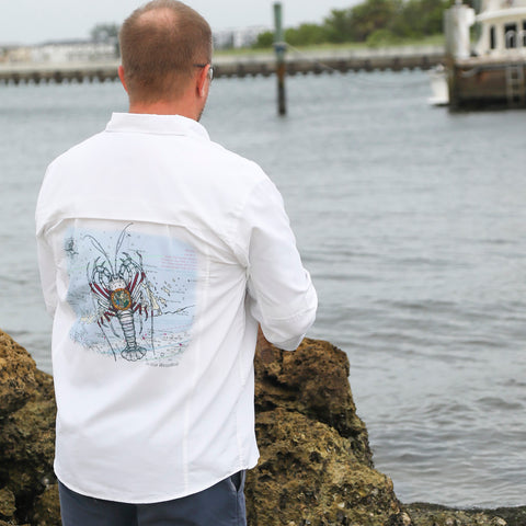 Spiny Lobster Chart Performance Fishing Shirt