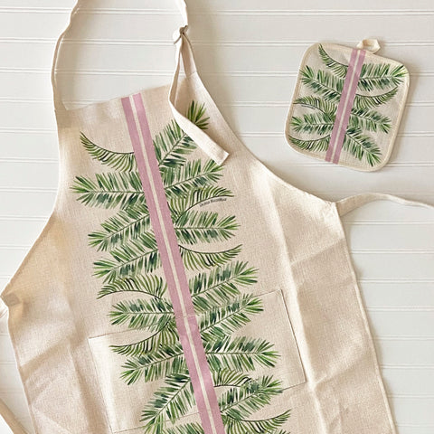 Preppy Palm Apron and Pot Holder Set