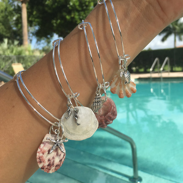 CALOOSA ADJUSTABLE CHARM BRACELETS WITH UNIQUE FLORIDA SHELL