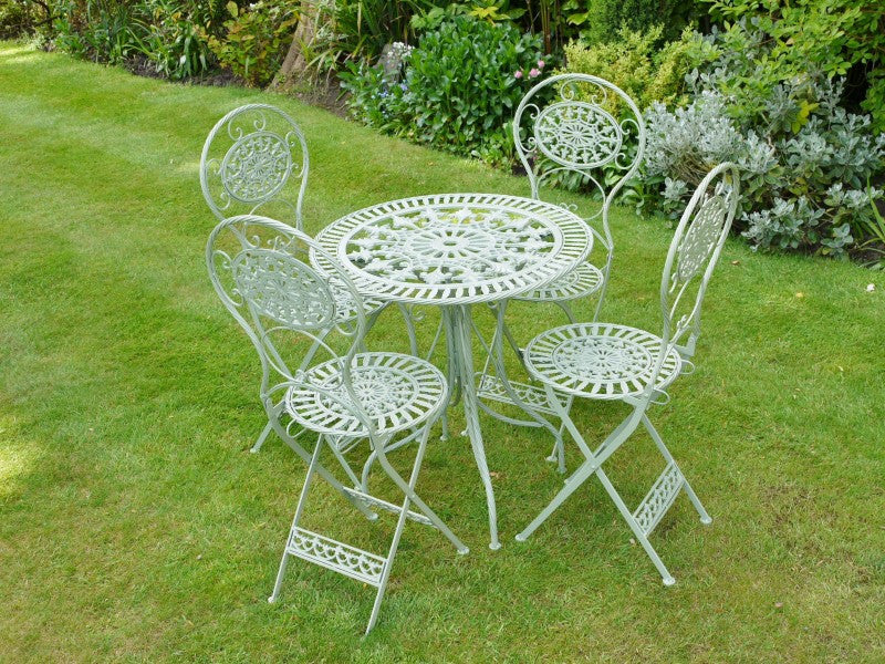 Superb Garden Bistro Patio Set With Foldable Table 4 Chairs In Green Interior Design Ideas Inesswwsoteloinfo