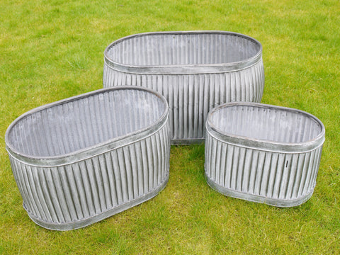 New Oval Metal Grey Set x 3 Galvanized Garden Flower Planter Pots Pot Box