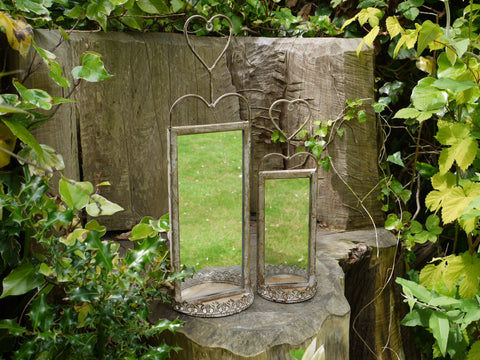 Set of 2 Wall Mirrors Vintage Rusty Effect
