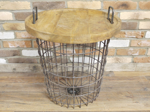 Industrial Basket Side Table With Detachable Wooden Top | Furniture Checklist