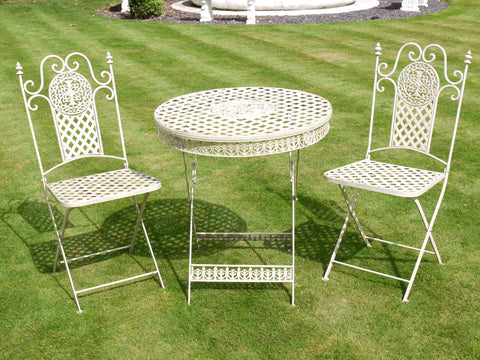 White Shabby Chic Bistro Garden Furniture Set | Furniture Checklist