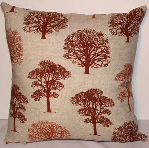 Autumn Burnt Orange Trees Handmade Cushion Cover