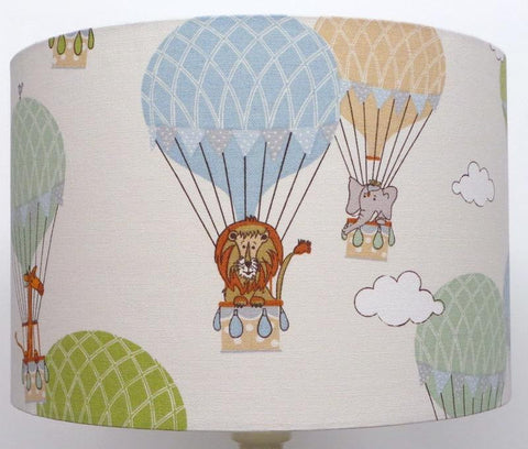 Children's Nursery fun Zoo Animals in Hot Air Balloons Design Handmade Lampshade