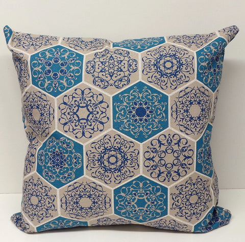 Mosaic Design Linen Blue and Beige Cushion Cover