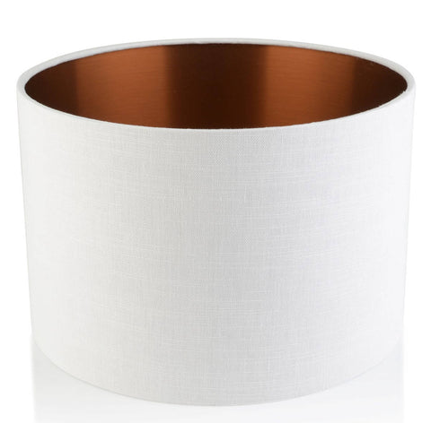 'Frida' White / Copper Linen Handmade Drum Lampshade | Furniture Checklist