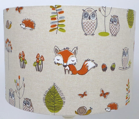 Fryett's Woodland Fox and Owl Handmade Lampshade
