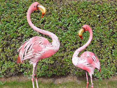 Bright Pink Flamingo Bird Large Garden Ornament Metal Distressed Finish