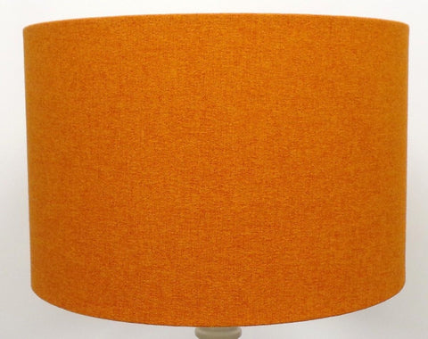 'Mira' Brushed Linen Burnt Orange Handmade Drum Lampshade | Furniture Checklist