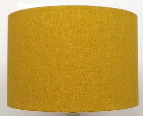 'Mira' Brushed Linen Mustard Yellow Handmade Drum Lampshade