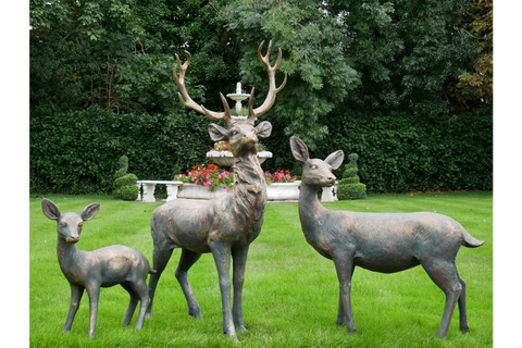 STAG & DEER GARDEN ORNAMENTS LAWN STATUES