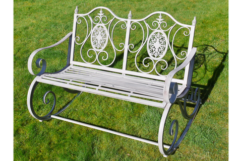 METAL GARDEN ROCKING BENCH ANTIQUE GREY ORNATE STYLE | furniturechecklist.co.uk