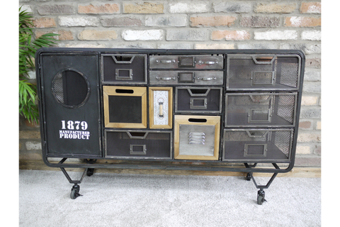 Neo Industrial Style Metal Cabinet Storage Sideboard W128cm x H78cm x D33cm | furniturechecklist.co.uk