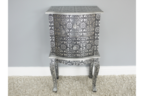 Black Embossed Bedside Cabinet | furniturechecklist.co.uk