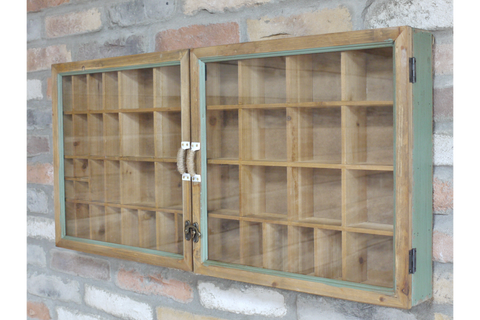 Vintage Rustic Wall Unit Glass Fronted Display Cabinet Storage Shelf H43cm x W90cm x 10cm | furniturechecklist.co.uk
