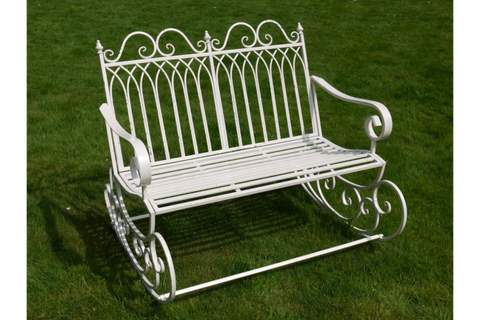 METAL GARDEN ROCKING BENCH ANTIQUE WHITE ORNATE STYLE H92cm x W109cm x D90cm | furniturechecklist.co.uk