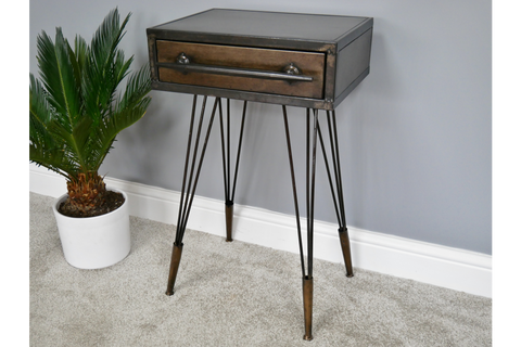 Metal Industrial Bedside Cabinet W41cm x H69cm x D34cm | furniturechecklist.co.uk