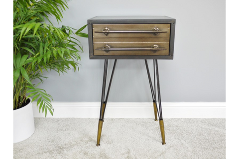 Metal Industrial Style Bedside Cabinet Side End Table W41cm x H69cm x D33cm | Furniture Checklist