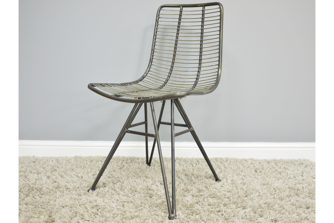 Industrial Metal Office Dining Chair Wired Design H86cm X W39cm X D51cm