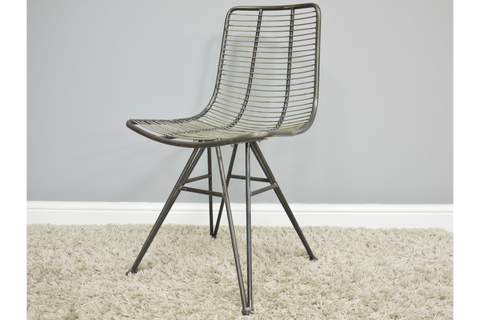 INDUSTRIAL METAL OFFICE / DINING CHAIR WIRED DESIGN | furniturechecklist.co.uk
