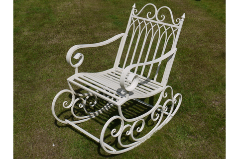 METAL GARDEN ROCKING CHAIR ANTIQUE WHITE ORNATE STYLE H95cm x W57cm | furniturechecklist.co.uk