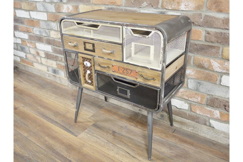 INDUSTRIAL STYLE METAL CABINET MULTICOLOURED MESH DRAWERS H73cm x W67cm x D34cm | furniturechecklist.co.uk